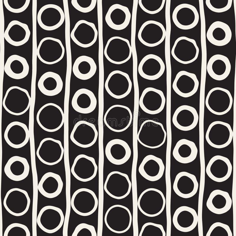 传染媒介无缝的纯稚样式 单色手拉的几何形状纹理 库存例证