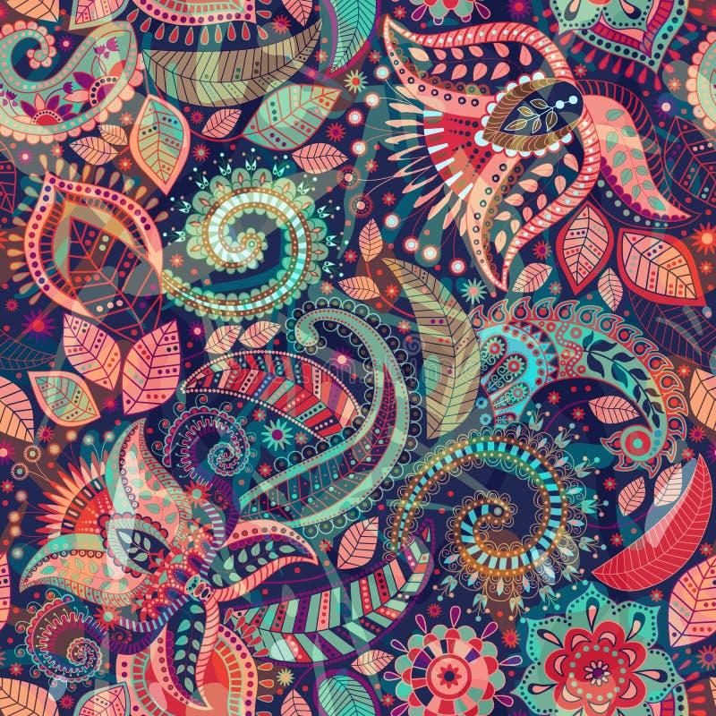 传染媒介无缝的花纹花样 佩兹利装饰品 印地安装饰墙纸 库存例证
