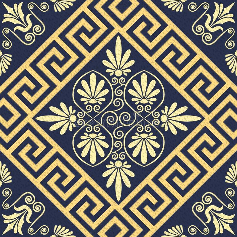 传染媒介无缝的葡萄酒金希腊装饰品(河曲) 皇族释放例证