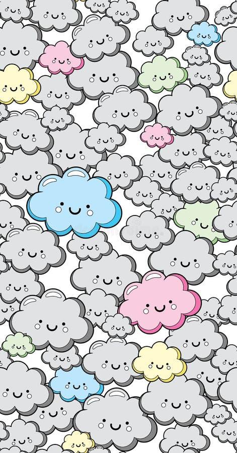 传染媒介无缝的逗人喜爱的云彩背景 库存图片