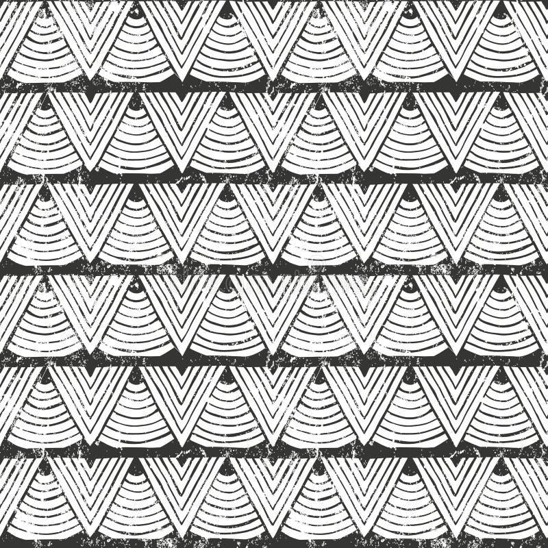 传染媒介无缝的部族样式 手拉的抽象背景 向量例证