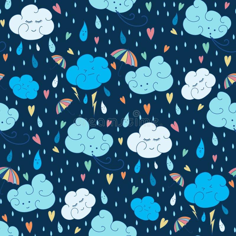 传染媒介无缝的雨题材样式 与云彩的五颜六色的乱画的秋天设计 皇族释放例证