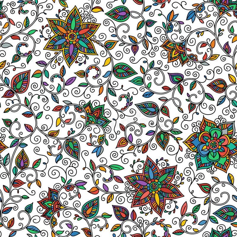 传染媒介无缝的颜色花卉样式 皇族释放例证