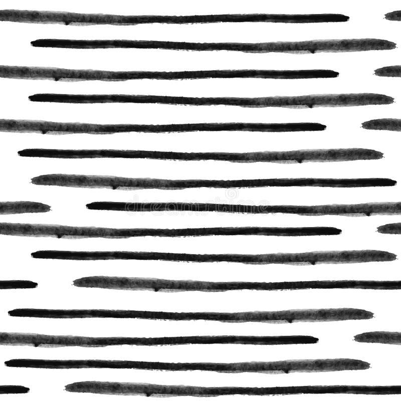 传染媒介无缝的水彩镶边样式 抽象难看的东西线 皇族释放例证
