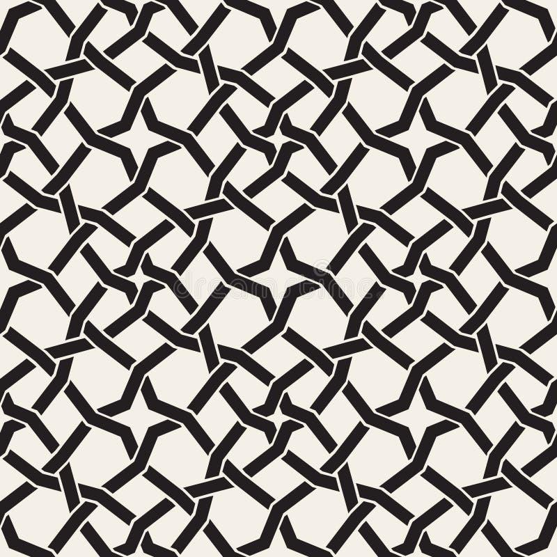 传染媒介无缝的黑白伊斯兰教的星交织的线几何样式 向量例证