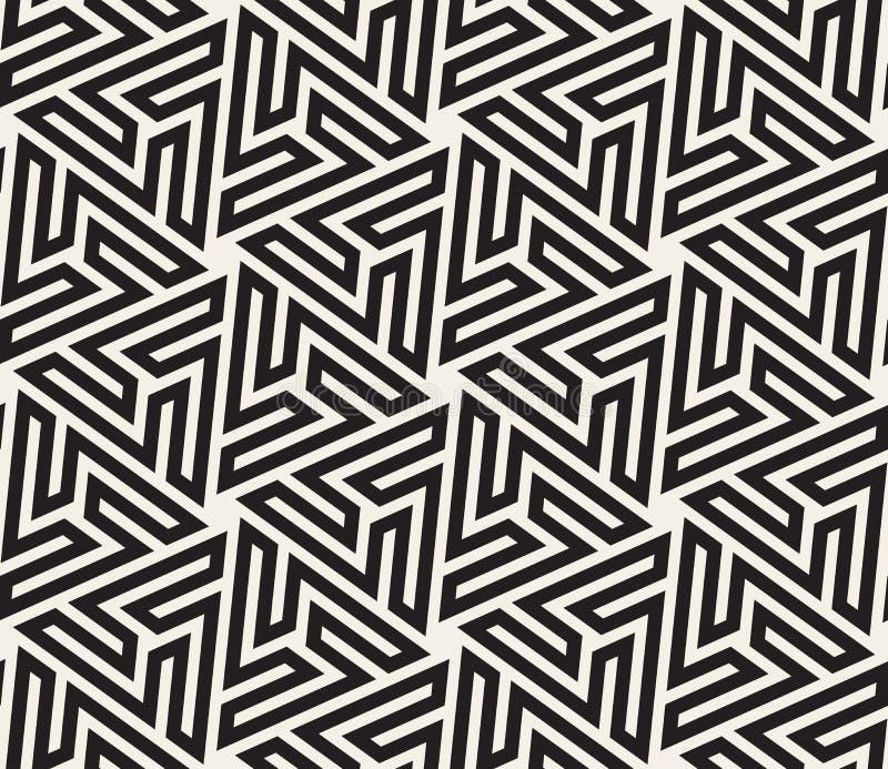 传染媒介无缝的黑白六角几何星迷宫伊斯兰教的线样式 皇族释放例证
