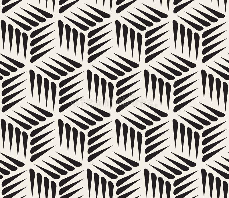 传染媒介无缝的黑白刺形状立方体几何样式 皇族释放例证