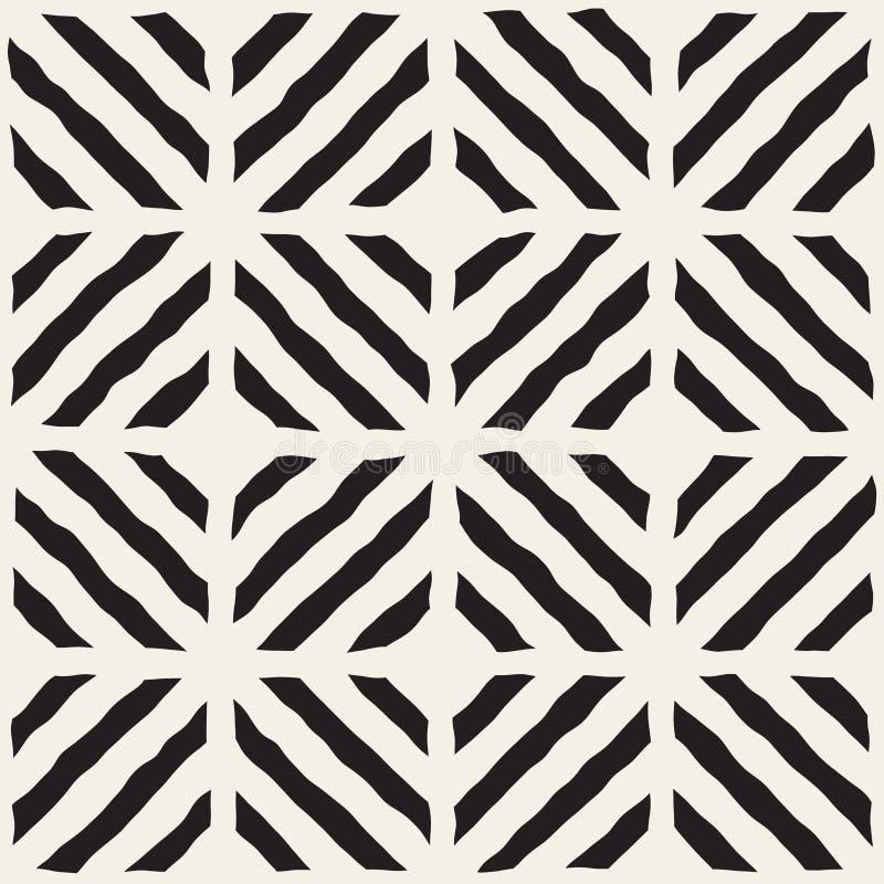 传染媒介无缝的黑白手拉的对角线排行网格图形 皇族释放例证