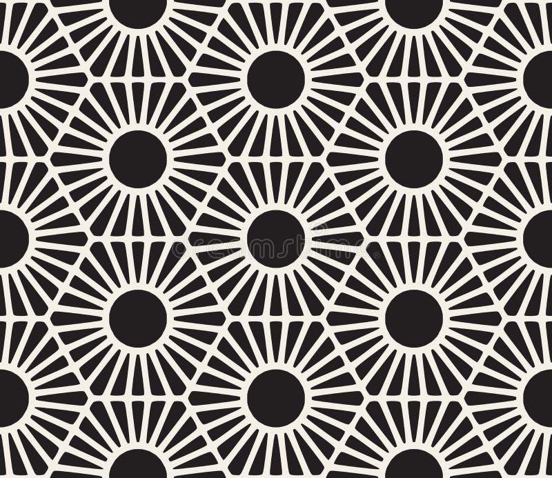 传染媒介无缝的黑白鞋带花卉样式 皇族释放例证