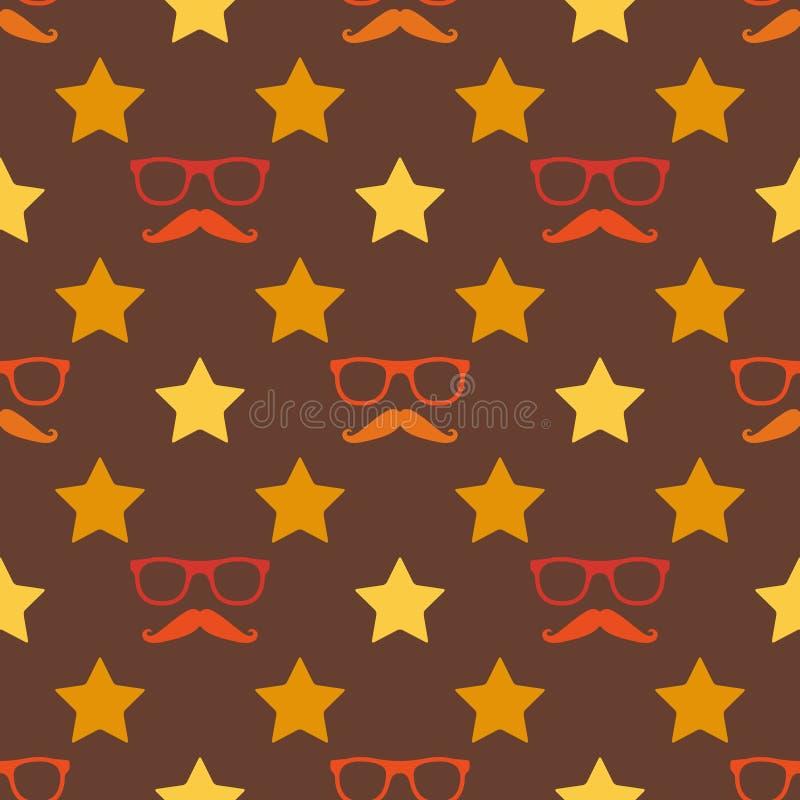 传染媒介无缝行家的髭和的眼镜 向量例证