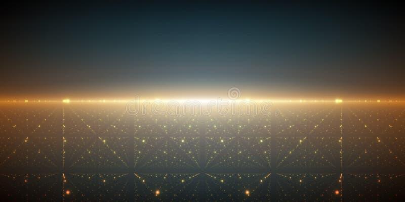 传染媒介无边无际的空间背景 矩阵发光担任主角与深度和透视幻觉  向量例证