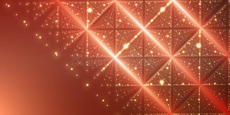 传染媒介无边无际的空间背景 矩阵发光担任主角与深度和透视幻觉  库存例证