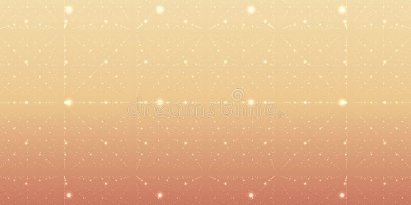 传染媒介无边无际的空间背景 矩阵发光担任主角与深度和透视幻觉  g 库存例证
