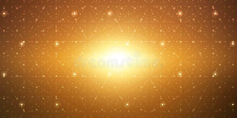 传染媒介无边无际的空间背景 矩阵发光担任主角与深度,透视幻觉  皇族释放例证