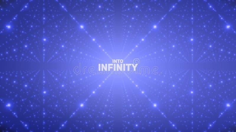 传染媒介无边无际的空间背景 矩阵发光担任主角与深度,透视幻觉  向量例证