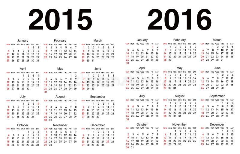 传染媒介日历模板 向量例证