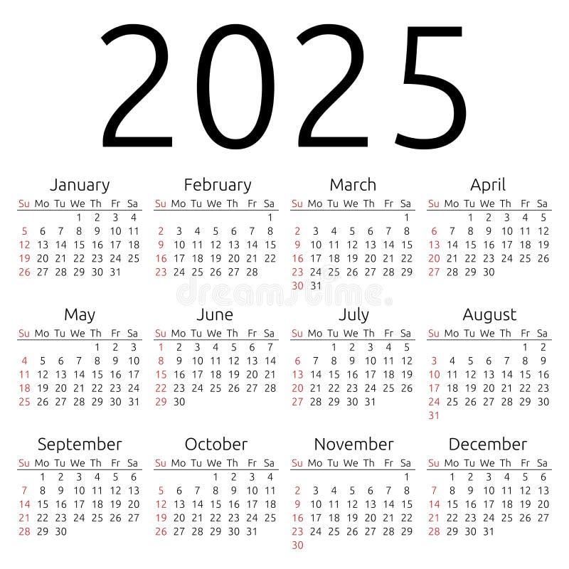 传染媒介日历2025年,星期天 皇族释放例证图片