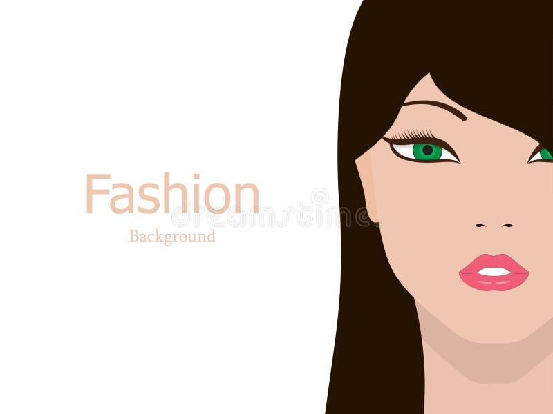 传染媒介时尚背景美丽的女孩面孔 库存例证