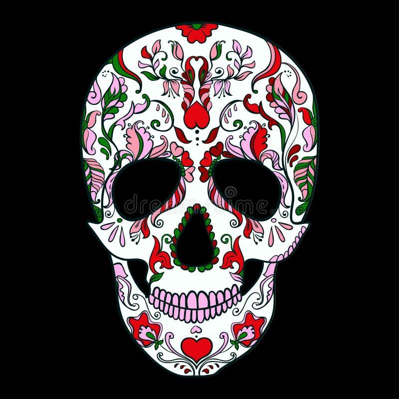 传染媒介有装饰品的糖头骨 免版税图库摄影