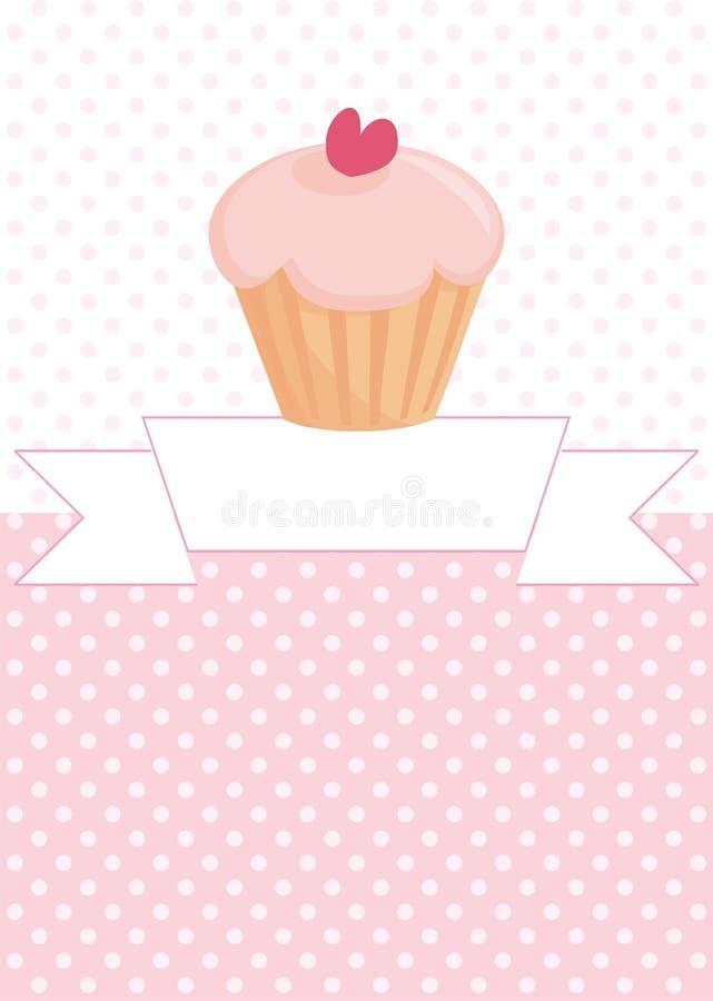 传染媒介杯形蛋糕甜点卡片 向量例证