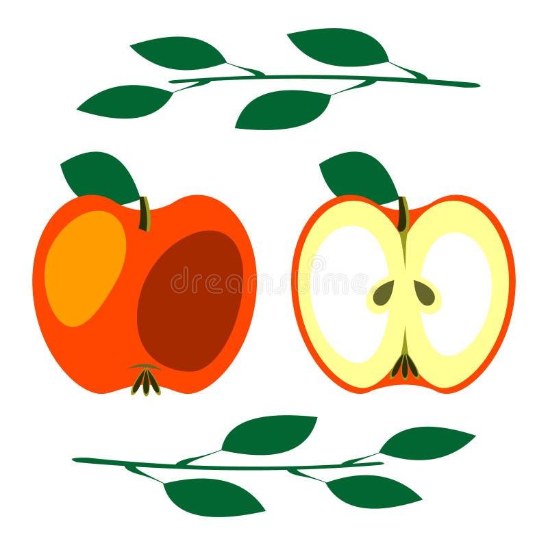 传染媒介结果实例证 红色苹果详细的象与叶子的,整个和半,被隔绝在白色背景 皇族释放例证