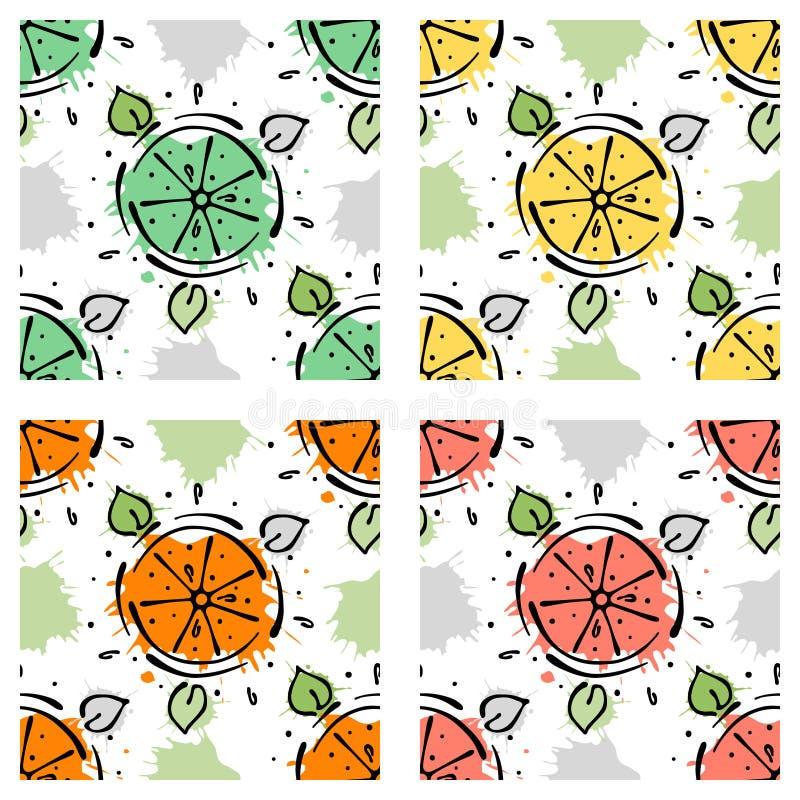 传染媒介结果实无缝的样式 石灰,柠檬,桔子,与叶子,污点,下落的葡萄柚,飞溅手拉的等高线和str 皇族释放例证
