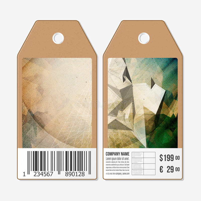 传染媒介标记在双方,纸板与条形码的销售标签设计 概念设计,抽象3D金字塔,传染媒介 皇族释放例证