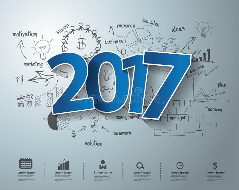 传染媒介标记标签2017在图画企业成功的文本设计 库存例证