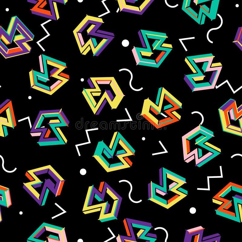 传染媒介样式80s 几何无缝的抽象背景 减速火箭的孟菲斯样式20世纪80年代 皇族释放例证