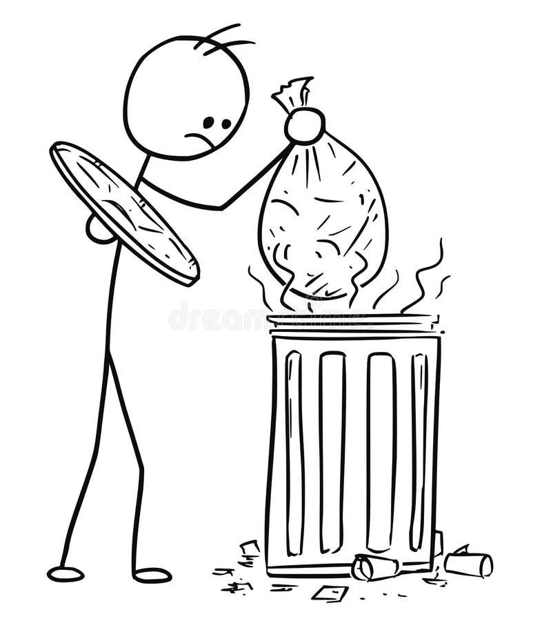传染媒介棍子投掷废垃圾袋的人人动画片对T 皇族释放例证