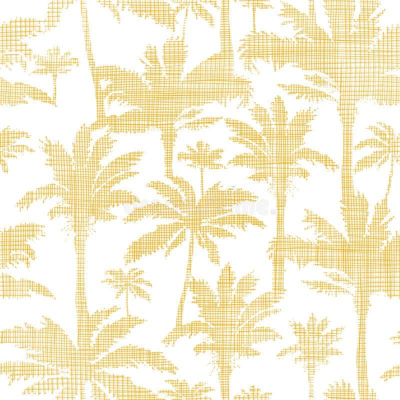 传染媒介棕榈树金黄纺织品无缝的样式 库存例证
