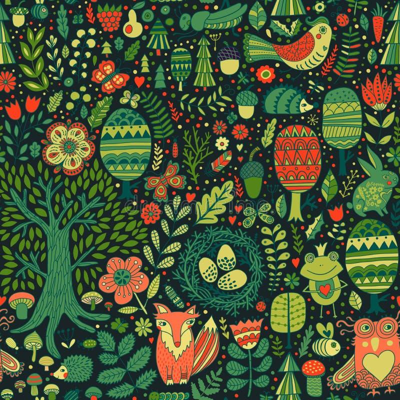 传染媒介森林设计,与森林动物的花卉无缝的样式:青蛙,狐狸,猫头鹰,兔子,猬 向量背景 库存例证