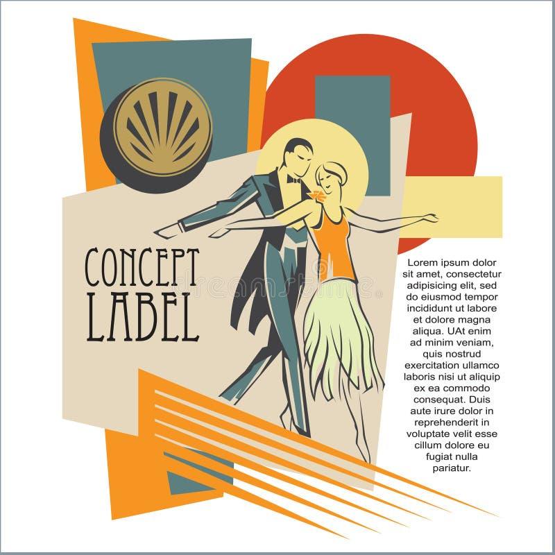 传染媒介概念艺术-在艺术装饰样式的交谊舞 向量例证