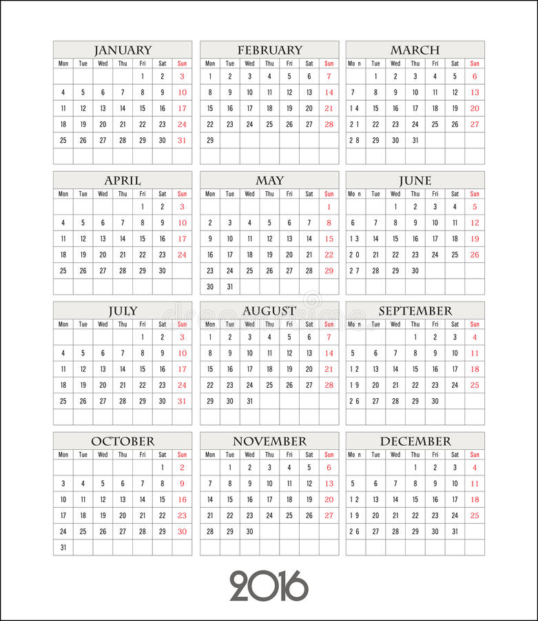 传染媒介模板日历栅格在2016年 库存例证