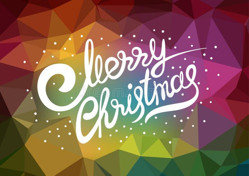 传染媒介模板xmas海报 字法圣诞快乐 抽象低多五颜六色的背景 向量例证