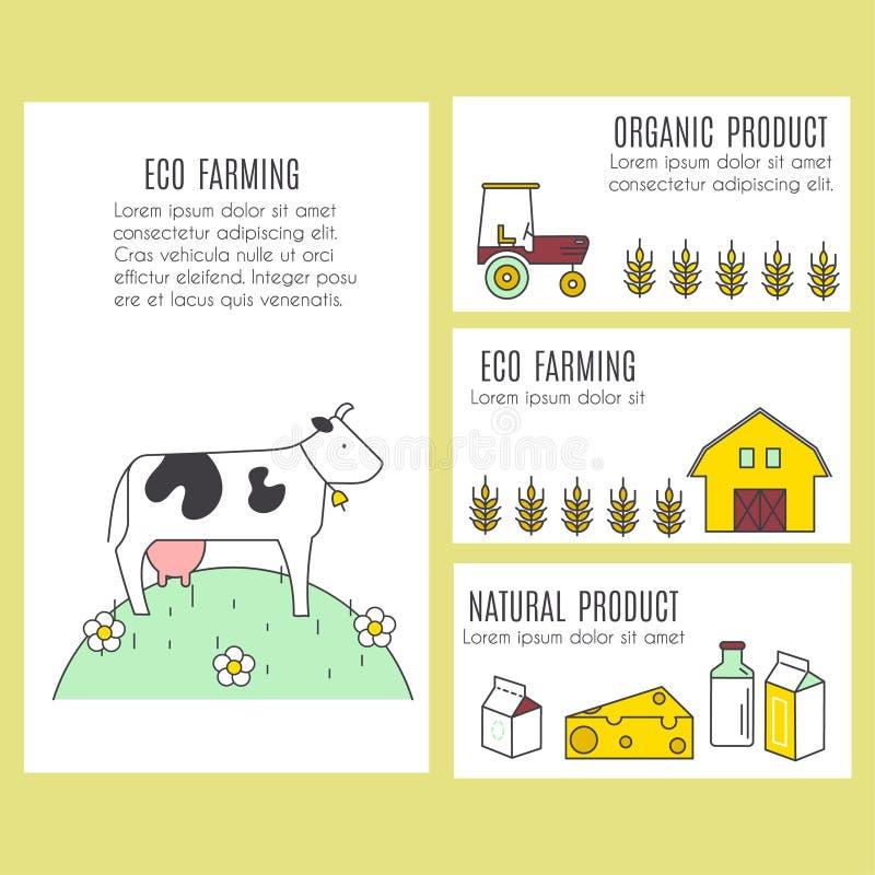 传染媒介横幅的汇集与农业和eco产品的 库存例证