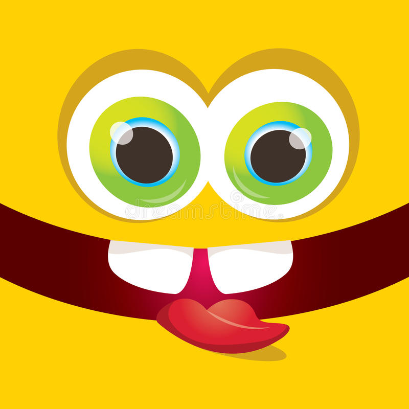 传染媒介橙色滑稽的妖怪面孔 向量例证