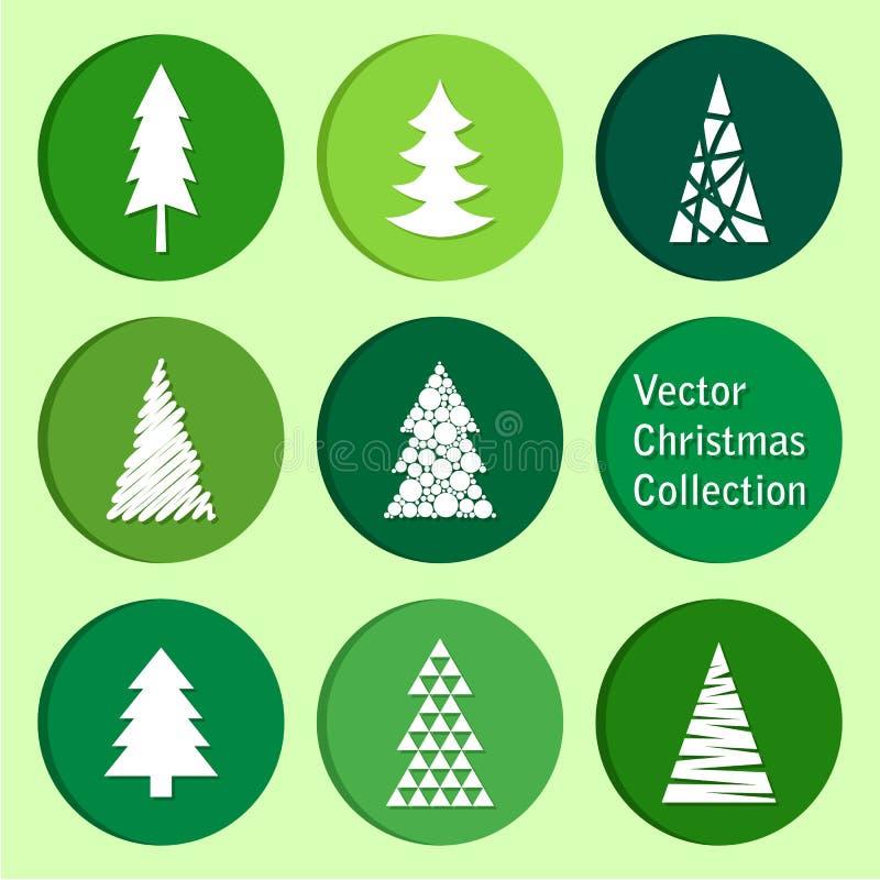 传染媒介汇集:圣诞节和新年云杉象 库存例证