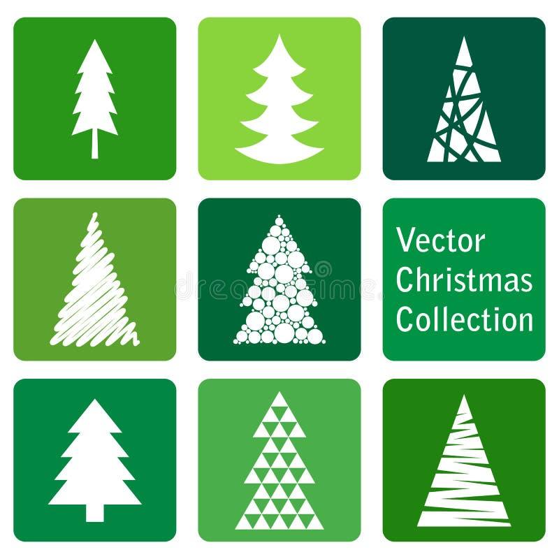 传染媒介汇集:圣诞节和新年云杉象 向量例证