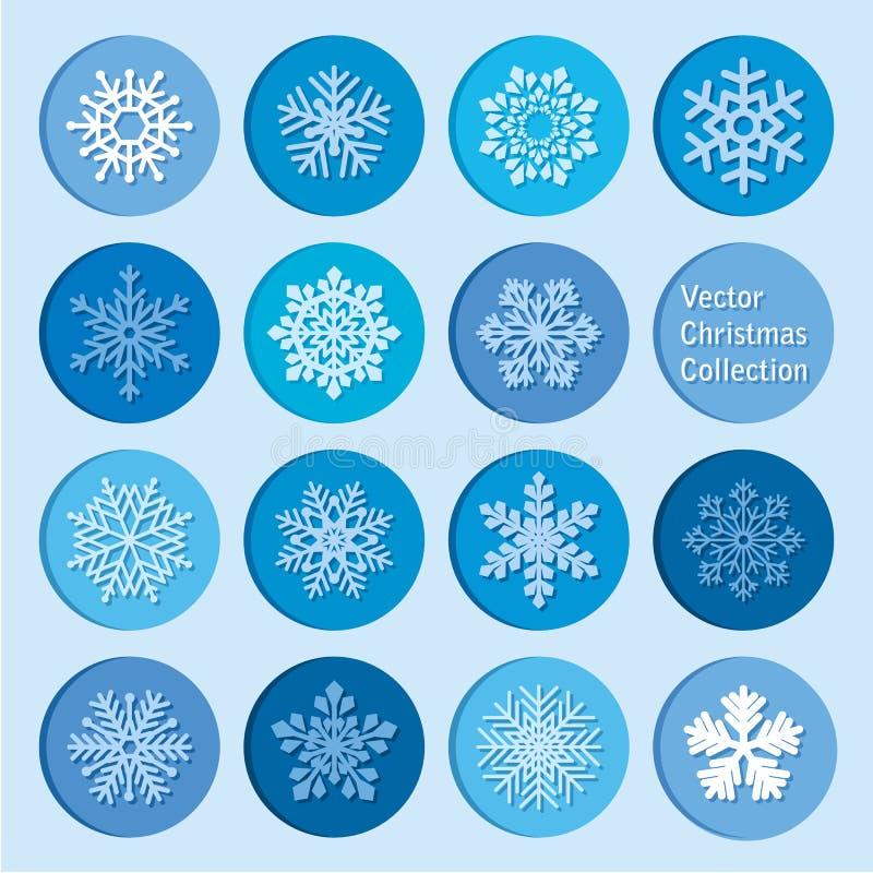 传染媒介汇集:圣诞节和新年雪花象 库存例证