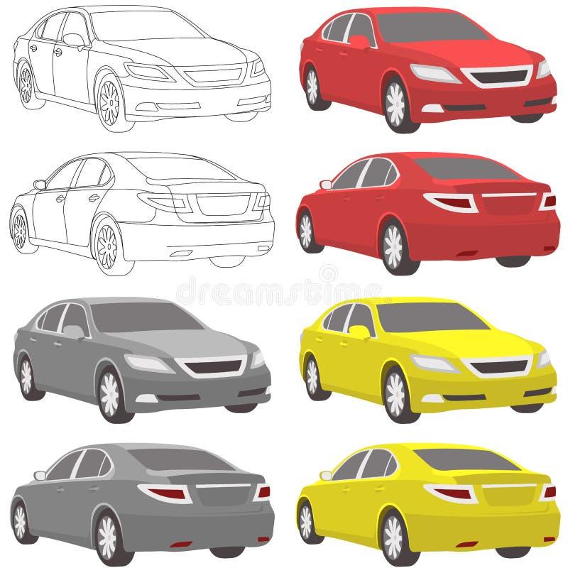 传染媒介汽车两视图前面和后面 皇族释放例证