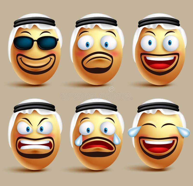 传染媒介沙特阿拉伯人蛋面孔被设置的佩带agal和ghutrah或头礼服 皇族释放例证