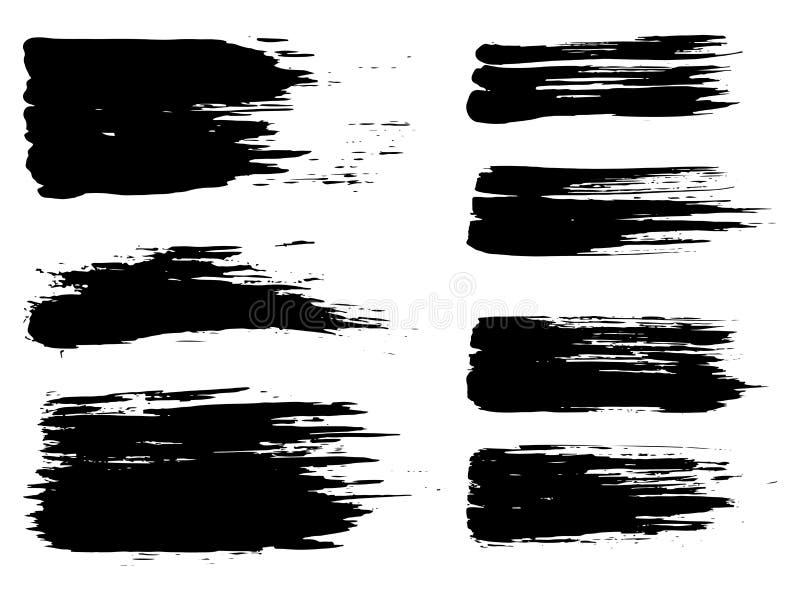 传染媒介黑油漆手工制造创造性的刷子冲程 向量例证