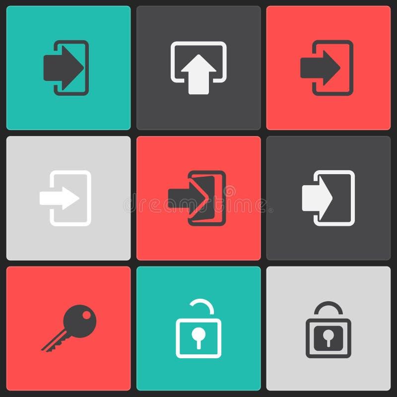 传染媒介注册网象在颜色正方形设置了 库存例证