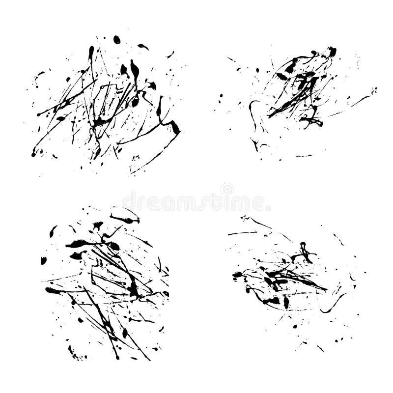 传染媒介泼溅物在白色背景集合手凹道的油漆摘要 向量例证
