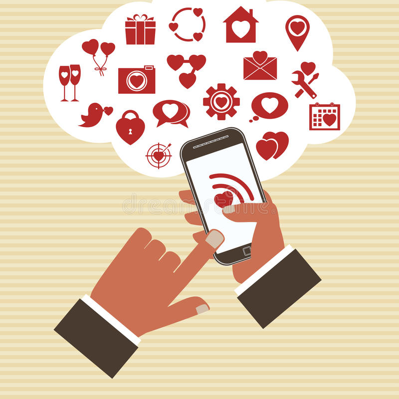 传染媒介流动app发展概念。 向量例证