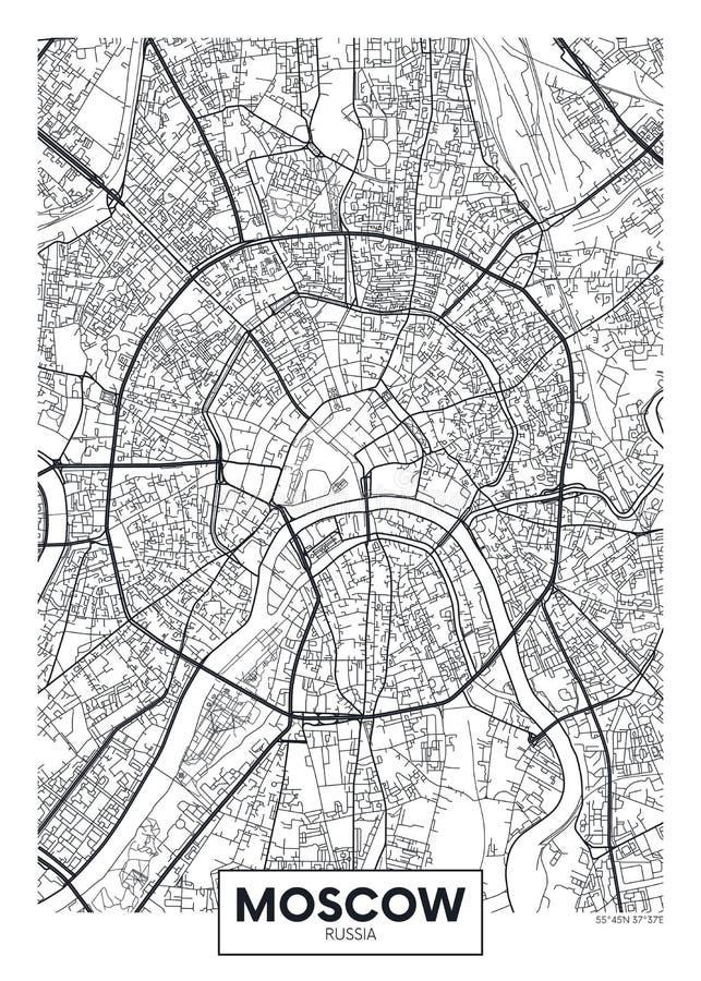 传染媒介海报地图城市莫斯科 库存例证