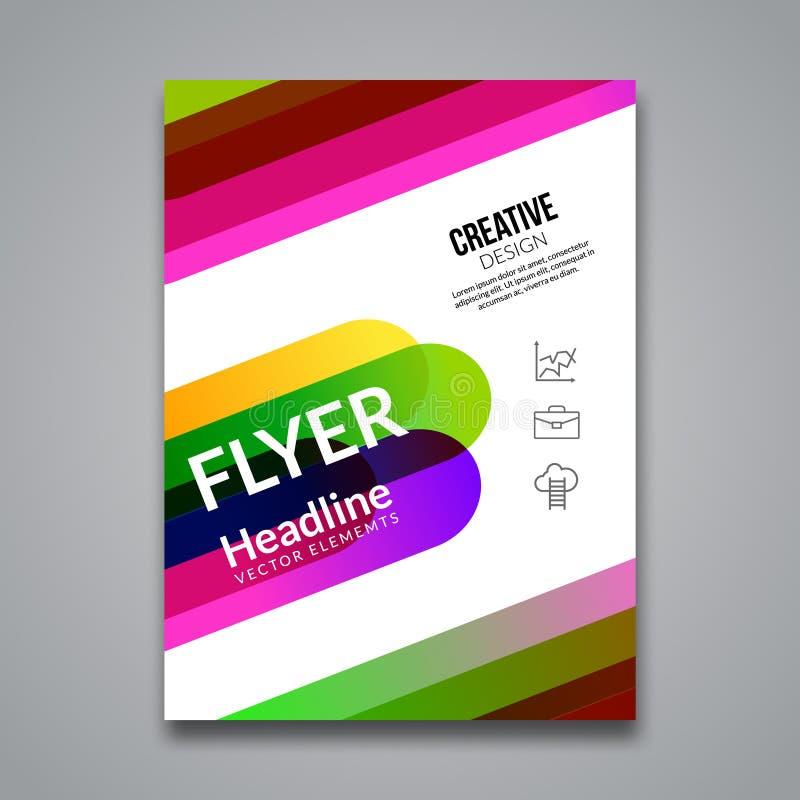 传染媒介海报飞行物模板 企业飞行物、海报和招贴的抽象五颜六色的背景 小册子tamplate 向量例证