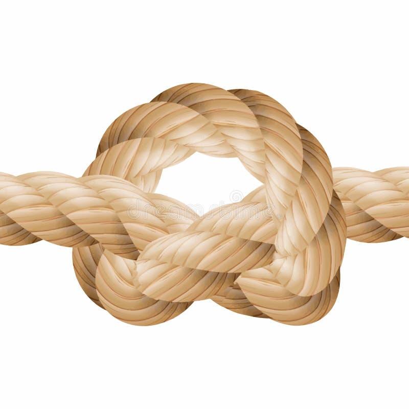 绳索结传染媒介 海洋绳索结 背景查出的白色 对织品,墙纸,包裹 图8,投下 库存例证