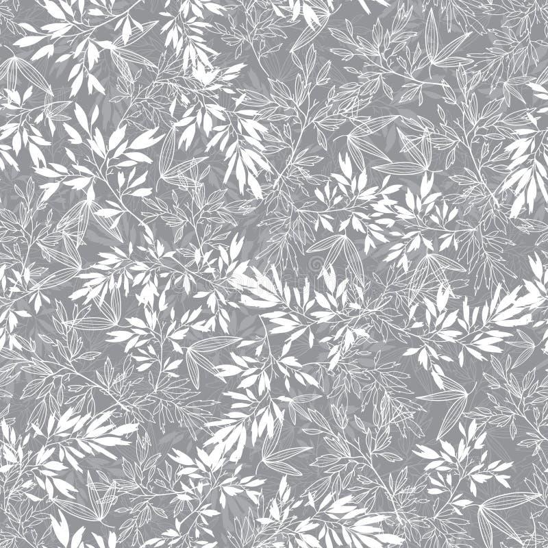 传染媒介灰色开花分支叶子夏天无缝的样式背景 伟大为典雅的灰色纹理织品,卡片 向量例证